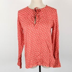 NWT Gap Blouse Popover Sz Small Floral Red